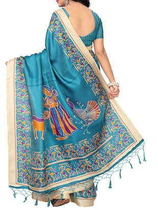 turquoise khadi printed saree with blouse - 15012651 - Standard Image - 2