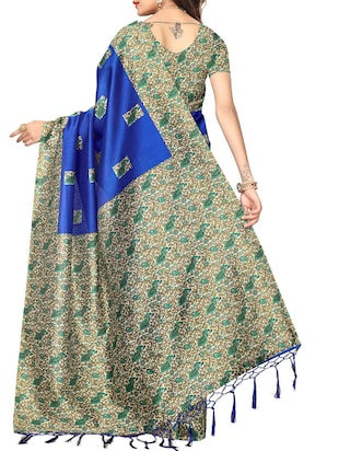 blue silk blend mysore saree with blouse - 15012713 - Standard Image - 2