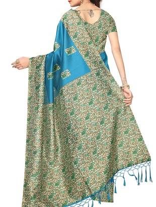sky blue tussar silk printed saree with blouse - 15013000 - Standard Image - 2
