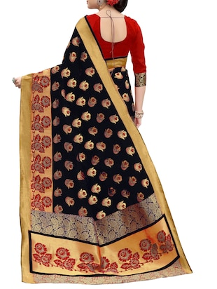 black banarasi silk saree with blouse - 15013165 - Standard Image - 2