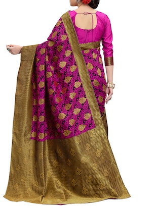 pink banarasi silk saree with blouse - 15013170 - Standard Image - 2