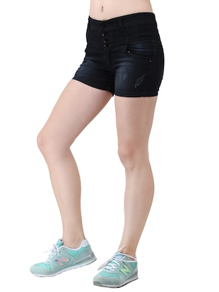 black solid denim shorts - 15013212 - Standard Image - 2