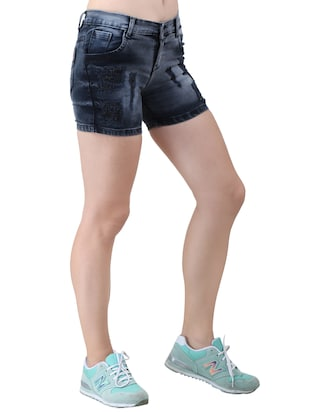 blue solid denim shorts - 15013214 - Standard Image - 2