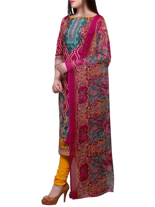 Pink churidaar suits unstitched suit - 15014064 - Standard Image - 2