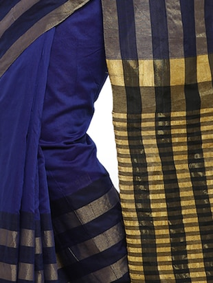 blue cotton silk woven saree with blouse - 15014382 - Standard Image - 2