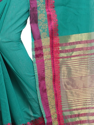 turquoise cotton silk bordered saree with blouse - 15014402 - Standard Image - 2