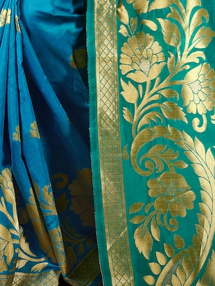 turquoise cotton silk woven saree with blouse - 15014451 - Standard Image - 2
