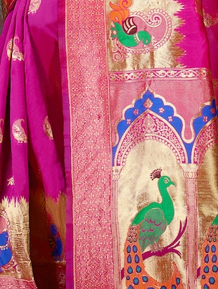 pink cotton silk woven saree with blouse - 15014455 - Standard Image - 2