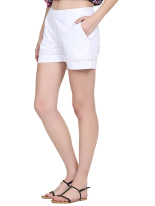 solid white cotton shorts - 15014654 - Standard Image - 2