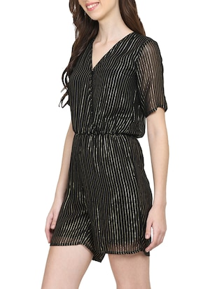 black striped romper jumpsuit - 15015530 - Standard Image - 2