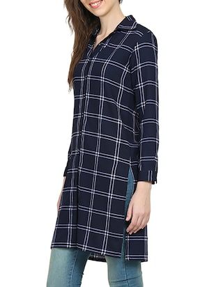 navy blue checkered tunic - 15015536 - Standard Image - 2