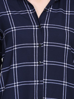 navy blue checkered tunic - 15015536 - Standard Image - 5