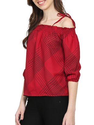 red checkered cold shoulder top - 15015543 - Standard Image - 2
