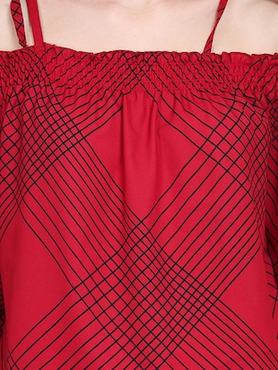 red checkered cold shoulder top - 15015543 - Standard Image - 5
