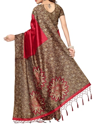 maroon mysore silk saree with blouse - 15015880 - Standard Image - 2