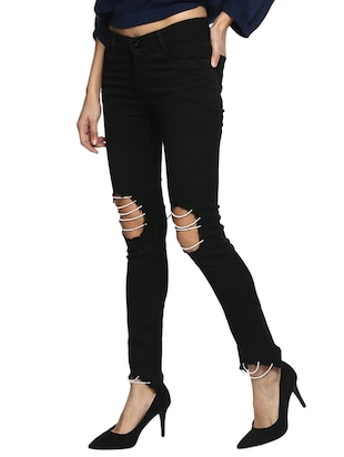 black distressed denim jeans - 15015905 - Standard Image - 2