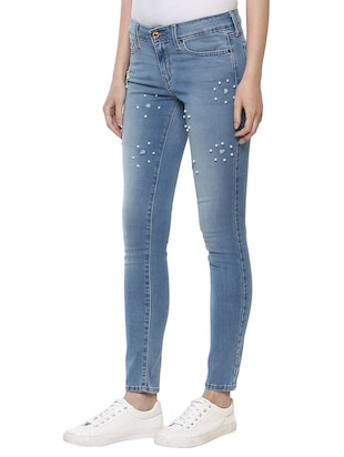light blue embellished denim jeans - 15015922 - Standard Image - 2