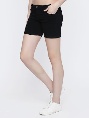 black denim shorts - 15015928 - Standard Image - 2
