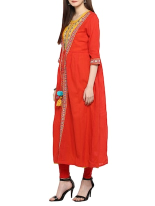 red cotton embroidered layered kurta - 15015977 - Standard Image - 2