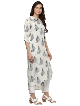 Shirt collor high-low kurta - 15016037 - Standard Image - 2