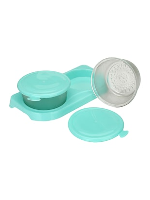 Transparent Glass Container Set With Colorful Plastic Lid & Easy To Carry Tray (Set 2+1) - 15016233 - Standard Image - 2