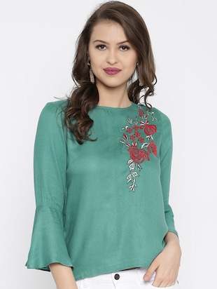 green solid modal embroidered top - Online Shopping for Tops