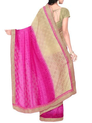 pink georgette printed saree with blouse - 15016754 - Standard Image - 2