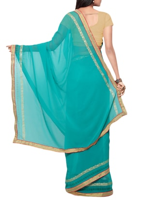 blue georgette bordered saree with blouse - 15016798 - Standard Image - 2