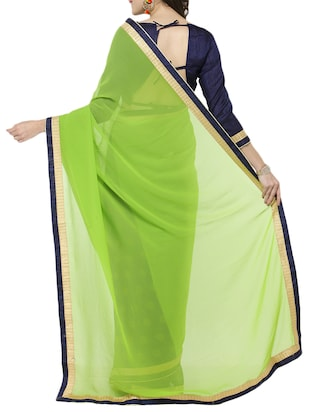 green georgette half & half saree with blouse - 15016800 - Standard Image - 2