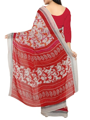 red georgette printed saree with blouse - 15016817 - Standard Image - 2