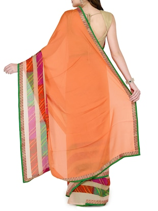 peach georgette bordered saree with blouse - 15016832 - Standard Image - 2