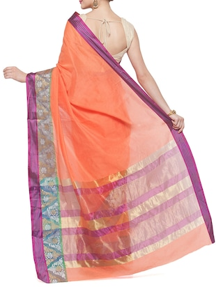 peach cotton silk bordered saree with blouse - 15016833 - Standard Image - 2