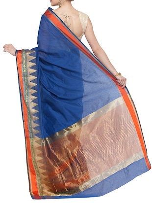 blue cotton silk bordered saree with blouse - 15016834 - Standard Image - 2