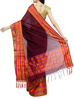 maroon cotton silk bordered saree with blouse - 15016848 - Standard Image - 2