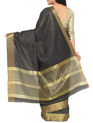black cotton silk woven saree with blouse - 15016850 - Standard Image - 2