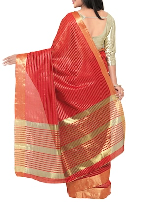 red cotton silk woven saree with blouse - 15016852 - Standard Image - 2