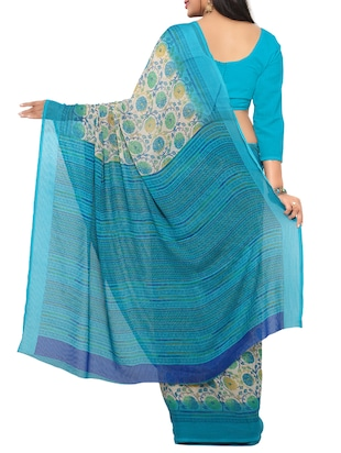 sky blue georgette printed saree with blouse - 15016883 - Standard Image - 2