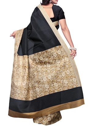 Floral bordered saree with blouse - 15016963 - Standard Image - 2