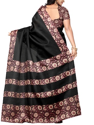Printed bordered saree with blouse - 15016980 - Standard Image - 2