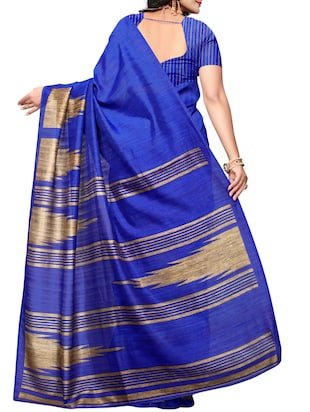 blue art silk printed saree with blouse - 15016986 - Standard Image - 2
