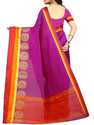 Contrast bordered bhagalpuri saree with blouse - 15016996 - Standard Image - 2