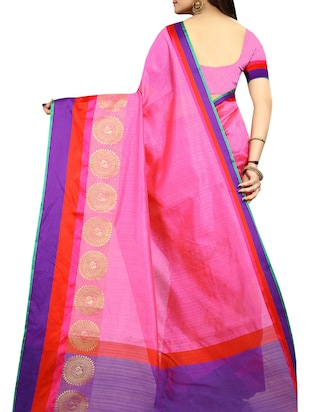 Contrast bordered bhagalpuri saree with blouse - 15016997 - Standard Image - 2