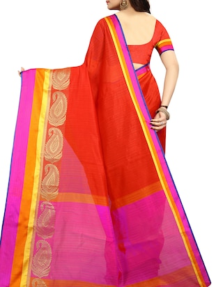 Contrast bordered bhagalpuri saree with blouse - 15016999 - Standard Image - 2