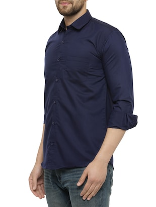 navy blue cotton casual shirt - 15017335 - Standard Image - 2