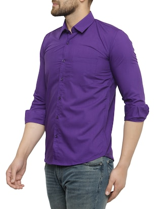 purple cotton casual shirt - 15017336 - Standard Image - 2