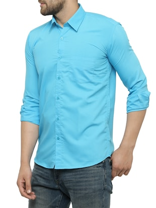 light blue cotton casual shirt - 15017338 - Standard Image - 2
