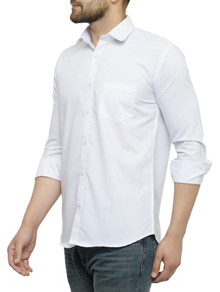 white cotton casual shirt - 15017339 - Standard Image - 2