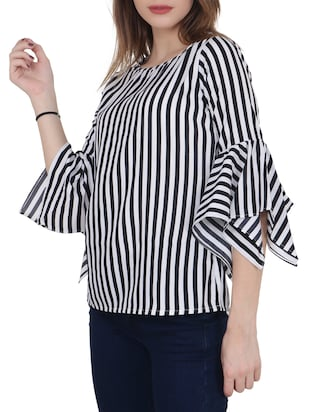 black striped crepe top - 15017361 - Standard Image - 2