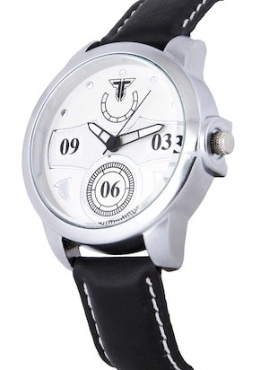 Traktime New Edge White Toned Round Dial Wrist Watch for Men /Women with Black Leather Strap - 15017840 - Standard Image - 2
