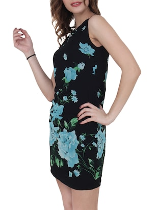 black floral georgette sheath dress - 15017960 - Standard Image - 2